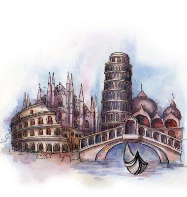 Poster la vista d'Italia acquerello di paese dell'Unione Europea isolato su sfondo bianco