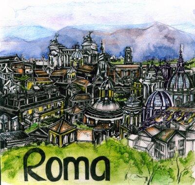 Poster la vista panoramica di Roma acquerello dell'Unione Europea