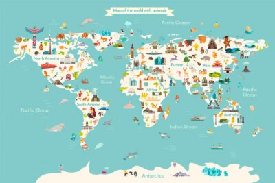Poster Landmarks world map vector cartoon illustration. Cartoon globe vector illustration. landmarks, signs, animals of countries and continents. Abstract map for learning. Poster, picture, card