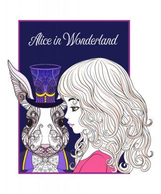 Poster Lara o coniglio nel cappello dalla favola Alice in Wonderla