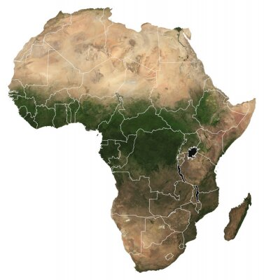 Poster Large (97 MP) isolated satellite image of Africa with country borders. African continent from space. Detailed map of Africa in orthographic projection. Elements of this image furnished by NASA.