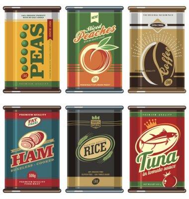 Poster lattine per alimenti Vintage