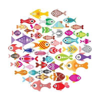 Poster Le icone dei pesci rotonde