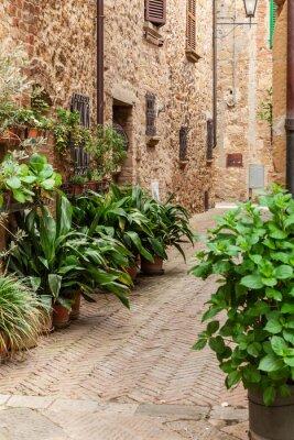 Poster Le strade della vecchia città italiana di Pienza, Toscana