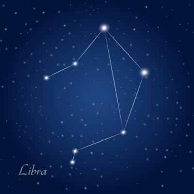 Poster Libra costellazione zodiacale a cielo notturno stellato