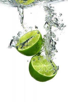 Poster Lime con gocce d'acqua