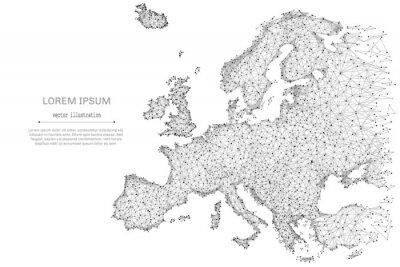 Poster Linea di mash astratta e punto Europa mappa su sfondo bianco con una iscrizione. Cielo stellato o spazio, composto da stelle e universo. Illustrazione del mondo vettoriale