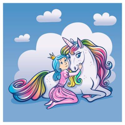 Poster Little Princess Girl e Cute Unicorn, illustrazione vettoriale