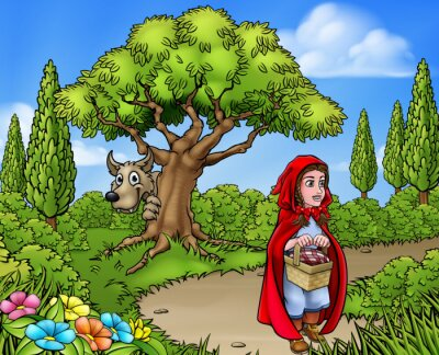 Poster Little Red Riding Hood Cartoon Scene