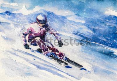 Poster Lo sciatore di montagna scivola dalla montagna. Immagine creata con acquerelli.