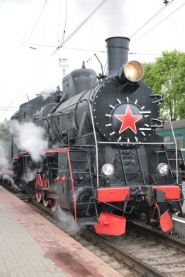 Poster Locomotiva a vapore, vista frontale