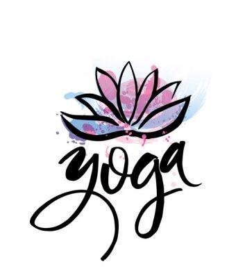 Poster Logo per studio di yoga o classe di meditazione. Spa logo elementi di disegno ad acquerello. concetto di meditazione. Lotos Silhouette. illustrazione vettoriale per la stampa t-shirt