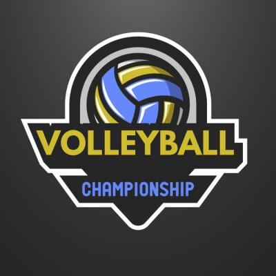 Poster logo sport pallavolo, etichetta, emblema.