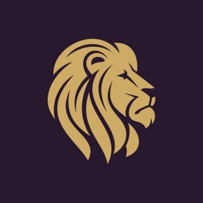 Poster logo testa di leone o icona in un unico colore. illustrazione Archivio vettoriale.