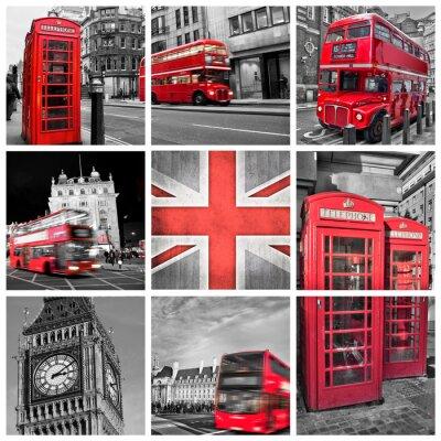 Poster London foto collage, colore selettiva