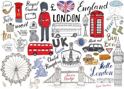 Poster Londra doodles città elementi della collezione. Hand drawn set con, il Tower Bridge, corona, il Big Ben, guardia reale, bus rosso e taxi nero, mappa del Regno Unito e la bandiera, teiera, lettering, i