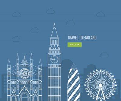 Poster Londra, Regno Unito le icone piane concetto di viaggio di design. Londra