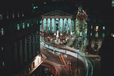 Poster Long Exposure - Royal Stock Exchange - London - Light Trails - City of London