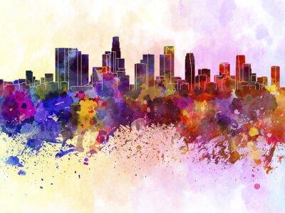 Poster Los Angeles skyline in sfondo acquerello