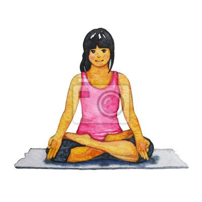 Poster loto yoga con mudra mano pittura ad acquerello