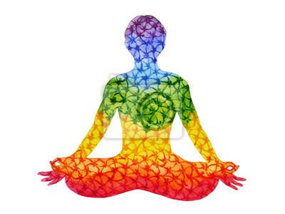 Poster loto yoga con mudra mano, pittura ad acquerello