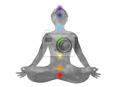 Poster loto yoga con mudra mano, pittura ad acquerello, astratto