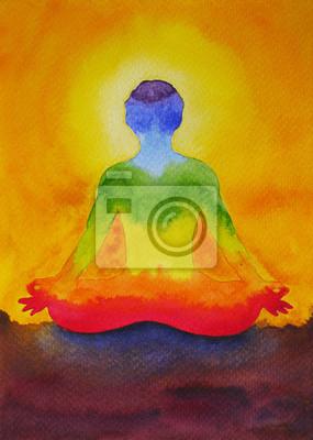 Poster loto yoga con mudra mano, pittura ad acquerello in Alba,