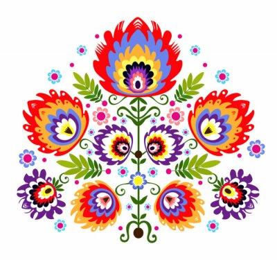 Poster Ludowy wzór - kwiaty