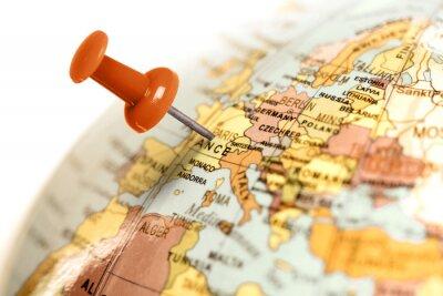 Poster Luogo Francia. Rosso pin sulla mappa.
