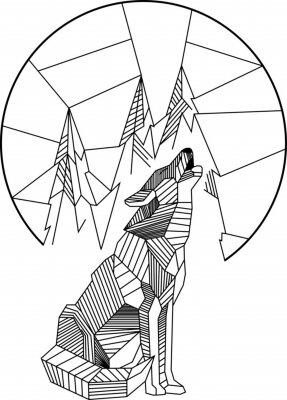 Poster Lupo che ulula geometrico