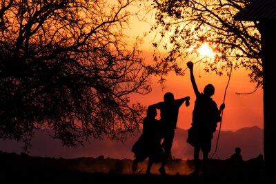 Poster Maasai Bambini Silhouette