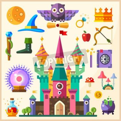 Poster Magia e favola. Magic Castle. Vector piatta icona e illustrazioni: castello gufo anello corona personale cappello libro degli incantesimi bacchetta magica funghi palla magica pozione bombetta arco fre