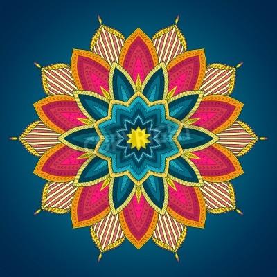 Poster Mandala. Pizzo Etnica rotondo ornamentale. Bella mano fiore disegnato. Può essere usato per il disegno del tessuto, carta decorativa, web design, ricamo, tatuaggio, etc.