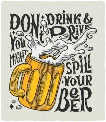 Poster manifesto grafico con incisione tazza e divertente testo