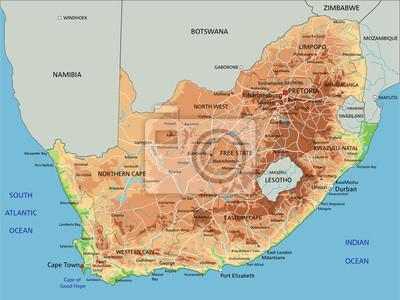 Cartina Dell Africa Fisica E Politica.Mappa Ad Alta Dettagliata Sud Africa Fisico Con Letichettatura Manifesti Da Muro Poster Johannesburg Mappatura Mantellina Myloview It