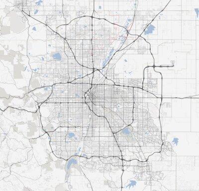 Poster Mappa città di Denver. Colorado Roads