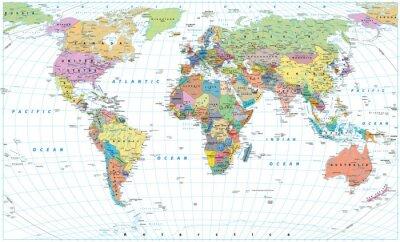 Poster Mappa del mondo colorato - frontiere, paesi, strade e città. Isolato su bianco