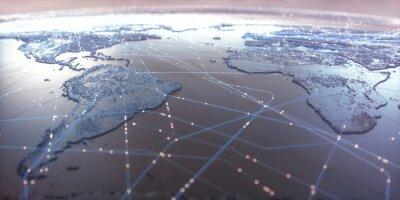 Poster Mappa del mondo con connessioni dati satellitari. Connettività in tutto il mondo.