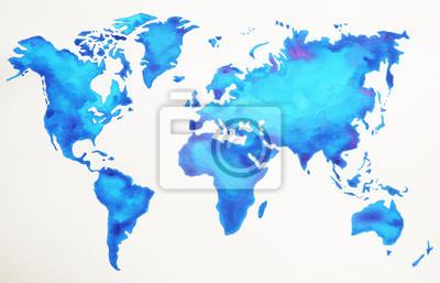 Poster Mappa del mondo disegno a mano, stile acquerello pittura, illustrazione