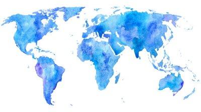 Poster Mappa del mondo.Earth.Watercolor disegnata a mano illustration.White background.