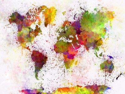 Poster Mappa del mondo in acquerello