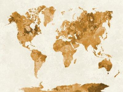 Poster Mappa del mondo in acquerello arancione
