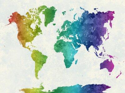 Poster Mappa del mondo in acquerello arcobaleno