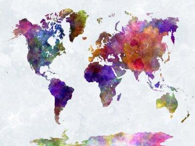 Poster Mappa del mondo in acquerello viola e blu