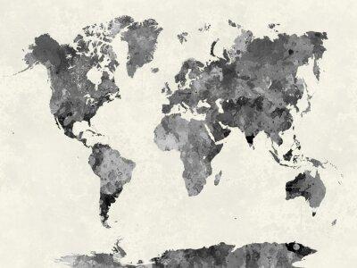 Poster Mappa del mondo in grigio acquerello