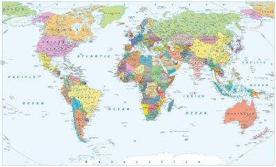 Poster Mappa del mondo politico - confini, paesi e città