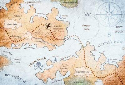 Poster mappa dell'isola del tesoro dei pirati