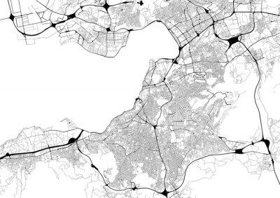 Poster Mappa della città in bianco e nero con rete stradale di Izmir