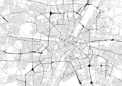 Poster Mappa della città in bianco e nero con rete stradale di Monaco