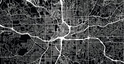 Poster Mappa della città urbana di vettore di Atlanta, Georgia, Stati Uniti d'America